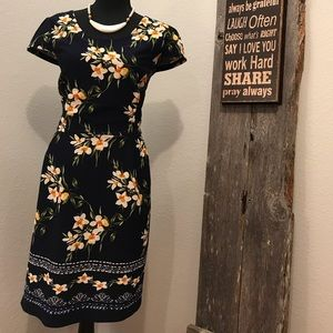 Enfocus studio Navy and Floral embroidered dress